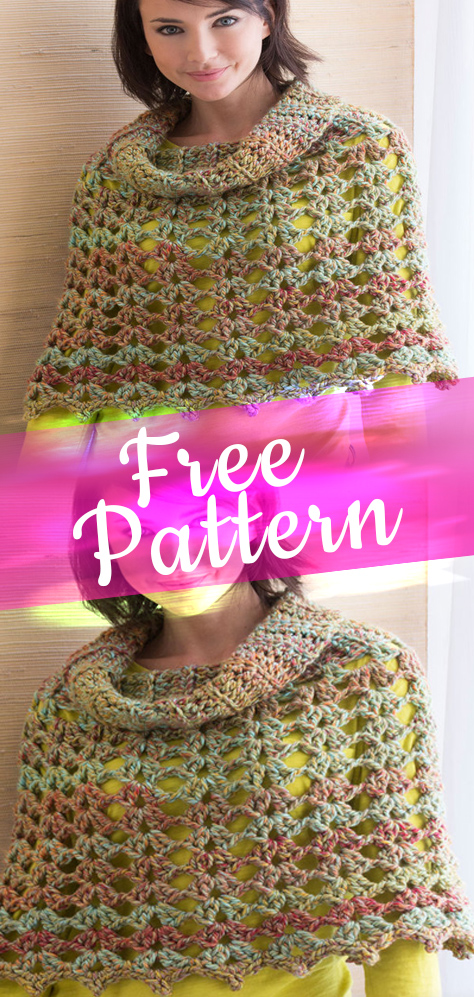 Chic Cowl Neck Poncho Crochet Free Pattern Crafts Ideas Design